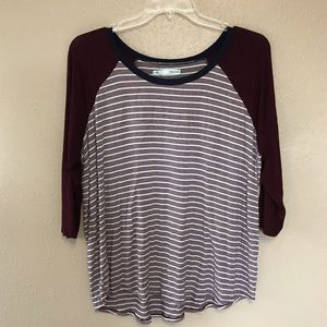 Maurices maroon baseball style top